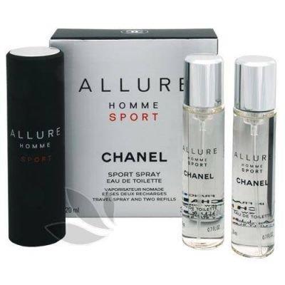 Chanel Allure Homme Sport toaletní voda (1x plnitelná + 2x náplň) pro muže 3 x 20 ml