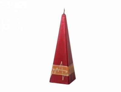 Svíčka zdobená PROUŽEK PYRAMIDA 6x19cm červená metalová