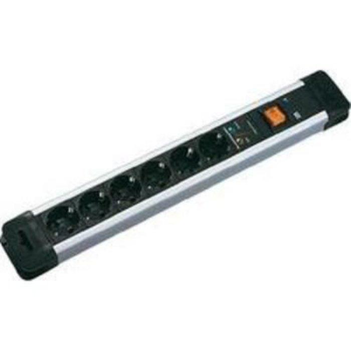 Zásuvková lišta s přepěťovou ochranou Bachmann Electric Connectus, 330104, 6 zásuvek, černá/stříbrná