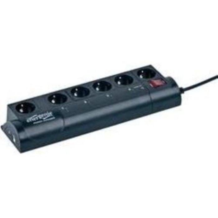 Zásuvková lišta s přepěťovou ochranou Gembird EG-PMS2, 6 zásuvek, černá