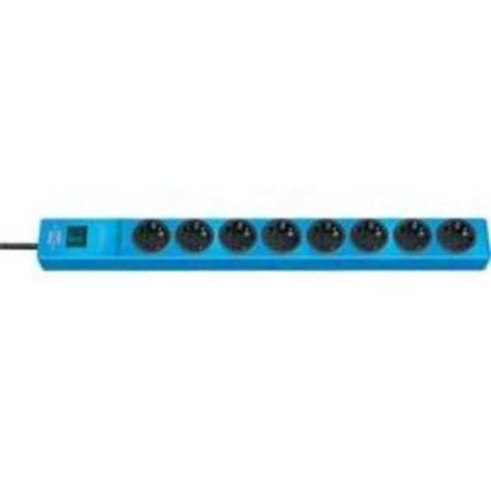 Zásuvková lišta Brennenstuhl s přepěťovou ochranou a spínačem, 8 zásuvek, modrá