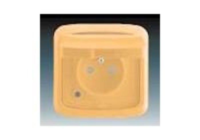 Tango® Zásuvka jednonásobná IP 44, s ochranným kolíkem, s víčkem, s clonkami, s ochranou před přepětím, béžová (5598A-2999D)