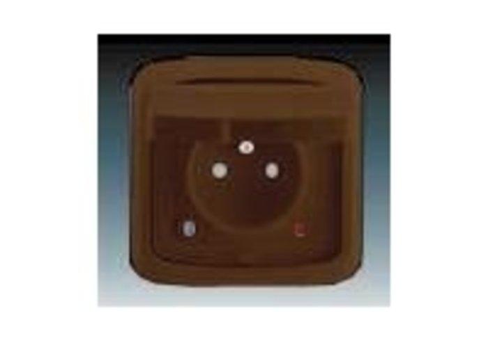 Tango® Zásuvka jednonásobná IP 44, s ochranným kolíkem, s víčkem, s clonkami, s ochranou před přepětím, hnědá (5598A-2999H)