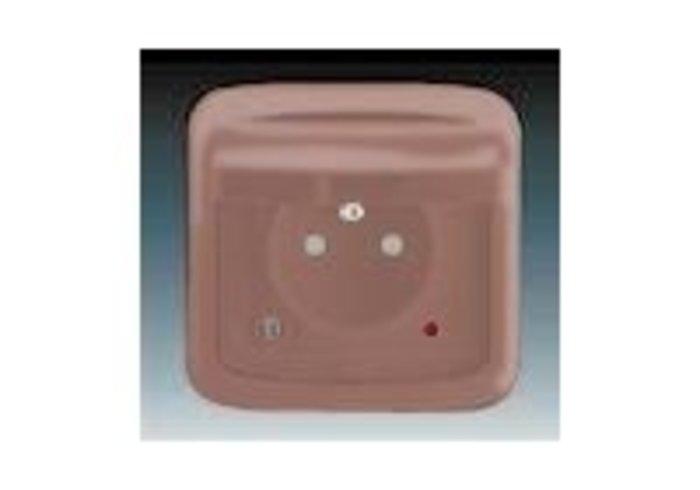 Tango® Zásuvka jednonásobná IP 44, s ochranným kolíkem, s víčkem, s clonkami, s ochranou před přepětím, vřesová červená (5598A-2999R2)