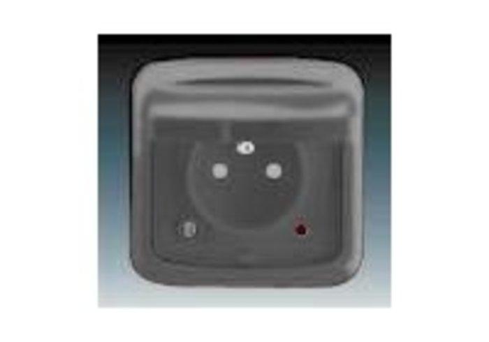 Tango® Zásuvka jednonásobná IP 44, s ochranným kolíkem, s víčkem, s clonkami, s ochranou před přepětím, kouřová šedá (5598A-2999S2)