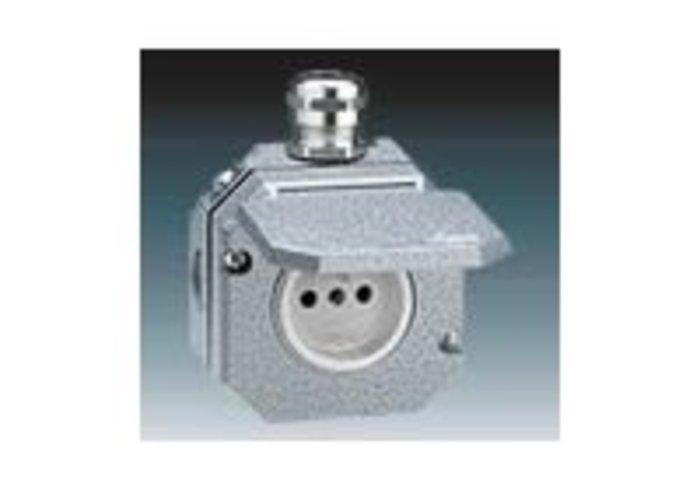 Garant Zásuvka jednonásobná IP 55, s ochranným kolíkem, s víčkem, s kovovou kabelovou průchodkou, šedá (5518-2760)