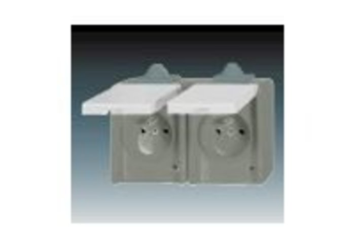 Praktik Zásuvka dvojnásobná IP 44, s ochrannými kolíky, s víčky, šedá (5518-2069 S)