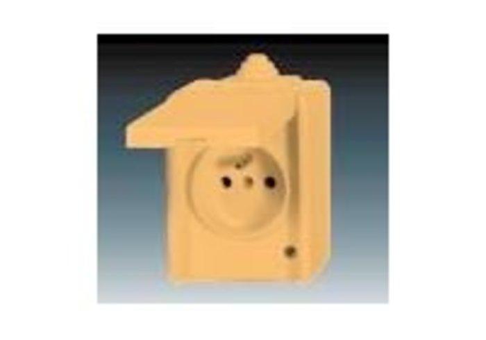 Praktik Zásuvka jednonásobná IP 44, s ochranným kolíkem, s víčkem, s ochranou před přepětím, béžová (5598-2929D)