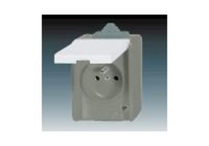 Praktik Zásuvka jednonásobná IP 44, s ochranným kolíkem, s víčkem, šedá (5518-2929 S)