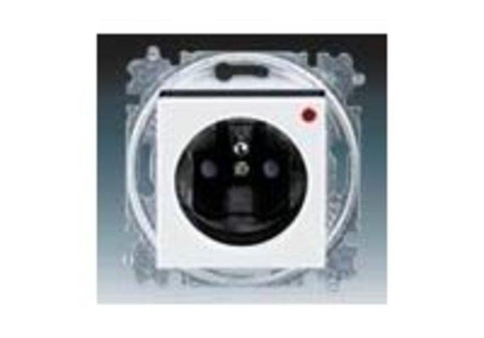 Zásuvka jednonásobná, přepěťová ochrana LEVIT bílá/kouřová černá 5599H-A02357 62