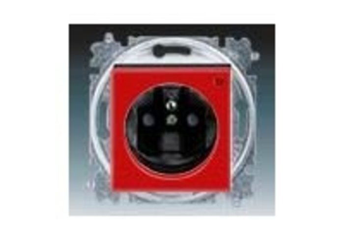 Zásuvka jednonásobná, přepěťová ochrana LEVIT červená/kouřová černá 5599H-A02357 65