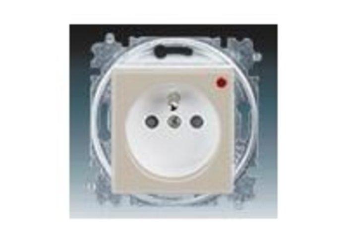 Zásuvka jednonásobná, přepěťová ochrana LEVIT macchiato/bílá 5599H-A02357 18