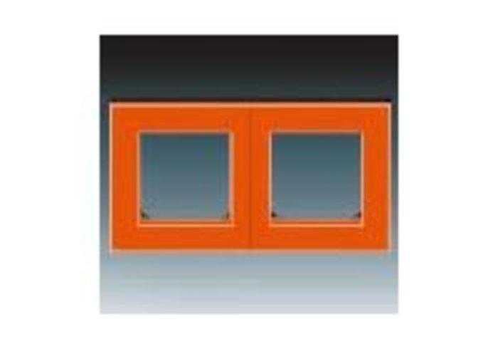 Rámeček dvojnásobný, vodorovná i svislá montáž  LEVIT oranžová/kouřová černá 3901H-A05020 66