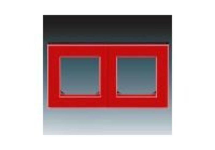 Rámeček dvojnásobný, vodorovná i svislá montáž LEVIT červená/kouřová černá 3901H-A05020 65