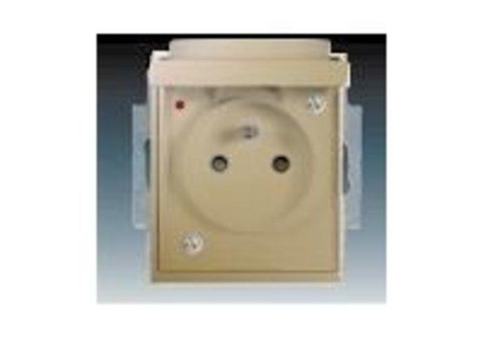 Time® Zásuvka jednonásobná IP 44, s ochranným kolíkem, s clonkami, s víčkem, s ochranou před přepětím, šampaňská (5598E-A02999 33)