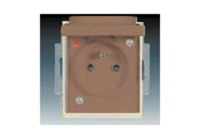 Element® Zásuvka jednonásobná IP 44, s ochranným kolíkem, s clonkami, s víčkem, s ochranou před přepětím, kávová / ledová opálová (5598E-A02999 25)