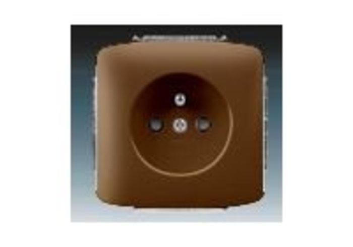 Tango® Zásuvka jednonásobná s ochranným kolíkem, s clonkami, hnědá (5519A-A02357 H)