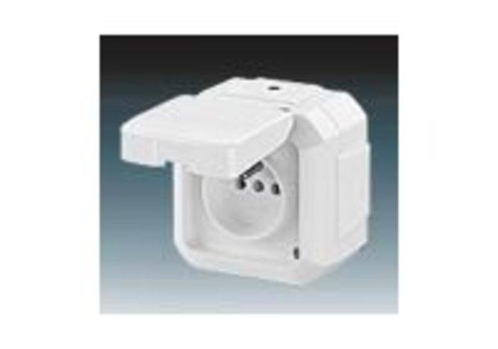 Variant+ Zásuvka jednonásobná IP 54, s ochranným kolíkem, s víčkem, pro průběžnou montáž, bílá (5518N-C02540 B)