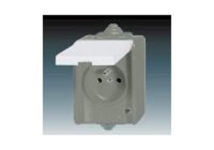 Praktik Zásuvka jednonásobná IP 44, s ochranným kolíkem, s víčkem, šedá (5518-2969 S)