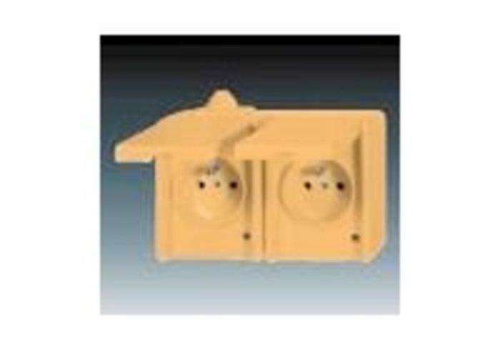Praktik Zásuvka dvojnásobná IP 44, s ochrannými kolíky, s víčky, béžová (5518-2029 D)