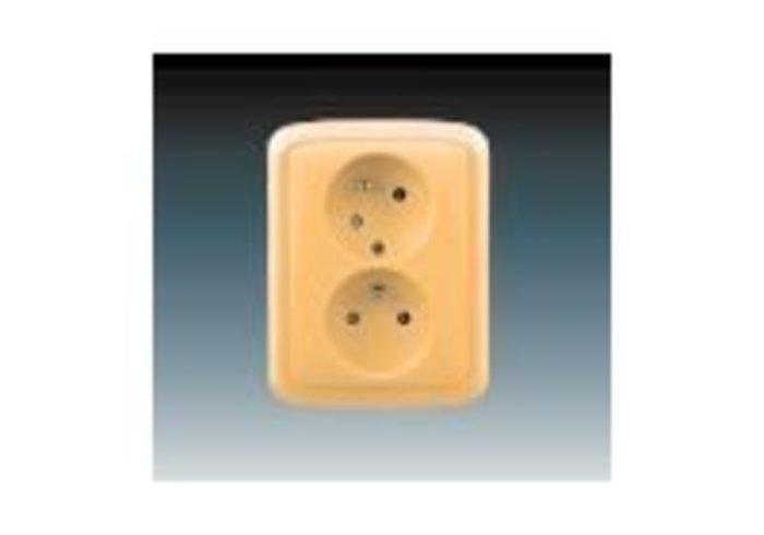 Tango® Zásuvka dvojnásobná s ochrannými kolíky, s clonkami, s natočenou dutinou, béžová (5513A-C02357 D)