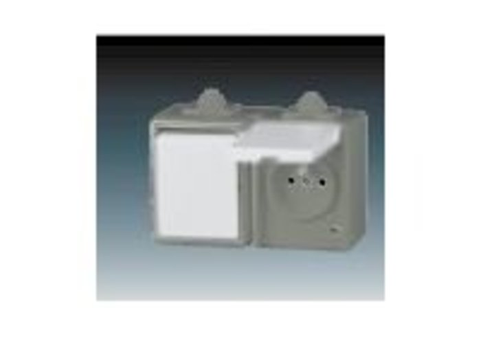 Praktik Kombinace přepínače střídavého a zásuvky s ochranným kolíkem a víčkem, IP 44, šedá (3932-20062 S)