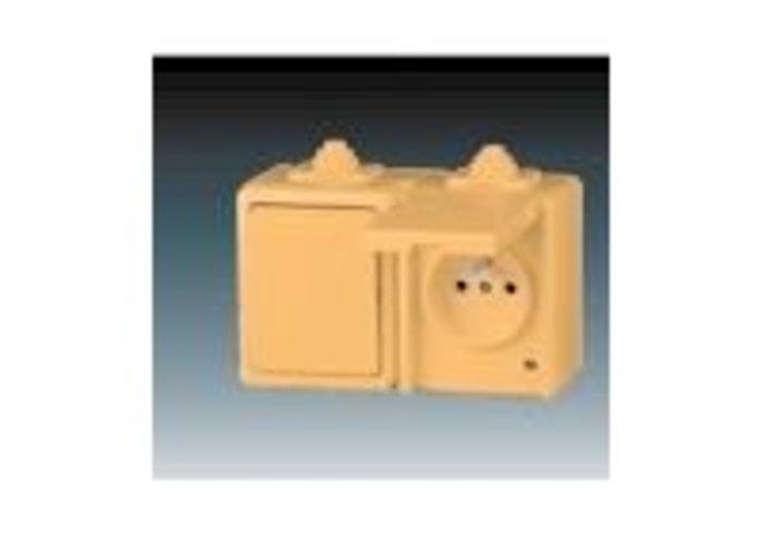 Praktik Kombinace přepínače střídavého a zásuvky s ochranným kolíkem a víčkem, IP 44, béžová (3932-20062 D)