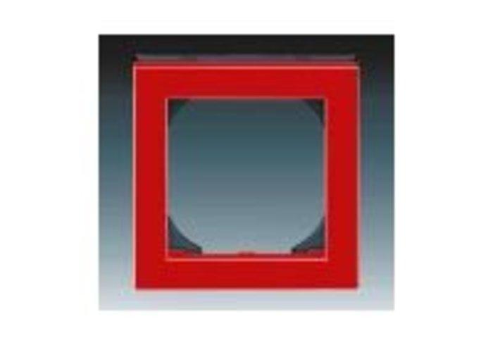 Rámeček jednonásobný s otvorem 55x55 LEVIT červená/kouřová černá 3901H-A05510 65