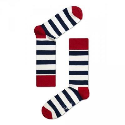 Pruhované ponožky v červené, bílé a černé barvě Happy Socks Stripe