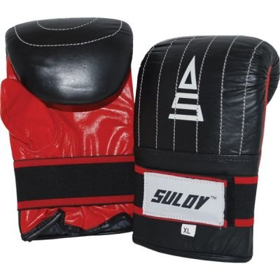 Boxerské rukavice Sulov pytlovky kožené. M - černá/červená