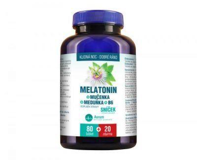 Aurum Melatonin Mučenka Meduňka B6 80 tbl. + 20 tbl. ZDARMA