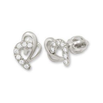 Brilio Náušnice z bílého zlata Srdce s krystaly 239 001 00583 07