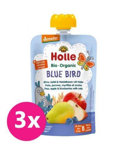 3x HOLLE Blue Bird Bio pyré hruška jablko borůvky vločky 100 g (6+)