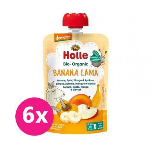 6x HOLLE Banana lama Bio ovocné pyré banán, jablko, mango, meruňka, 100 g (6 m+)