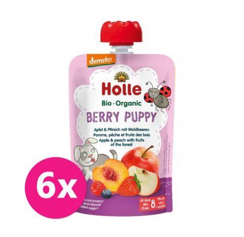 6x HOLLE Berry Puppy Bio ovocné pyré jablko, broskev a lesní plody, 100 g (6 m+)