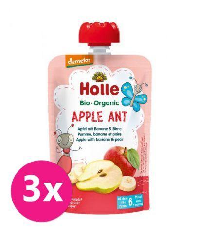 3x HOLLE Apple Ant Bio pyré jablko banán hruška 100 g (6+)