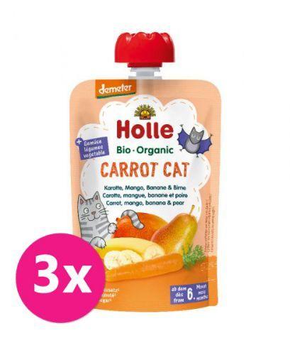 3x HOLLE Carrot Cat Bio pyré mrkev mango banán hruška 100 g (6+)