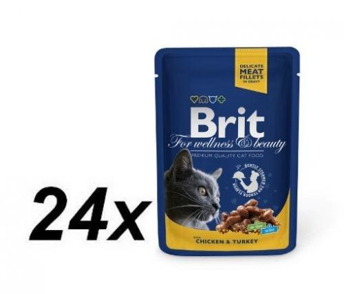 Brit Premium Cat Pouches with Chicken & Turkey 24 x 100g