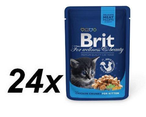 Brit Premium Cat Pouches Chicken Chunks for Kitten 24 x 100g
