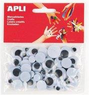 Oči APLI nelepicí kulaté černé mix velikostí/75 ks