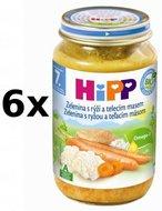 HiPP Zelenina s rýží a telecím masem - 6x220g