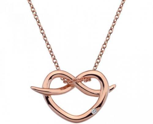 Hot Diamonds Stříbrný náhrdelník Hot Diamonds Infinity Heart Rose Gold DP605 stříbro 925/1000