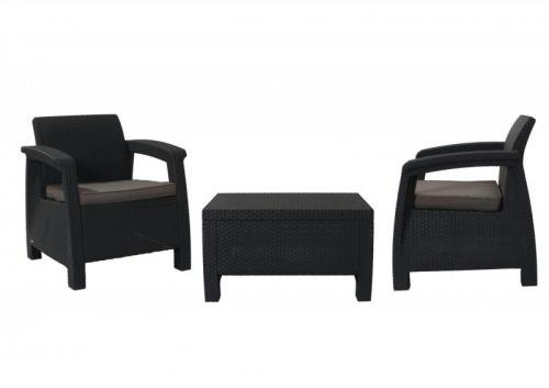 Allibert Balkónový set nábytku CORFU II antracit/šedá