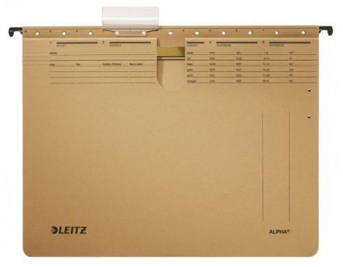 Závěsné desky Leitz ALPHA hnědé s rychlovazačem