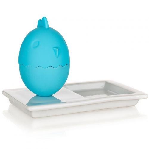 BANQUET 2v1 Silikonový kalíšek na vajíčka s talířkem 13,8x8,8cm COLOR PLUS BLUE