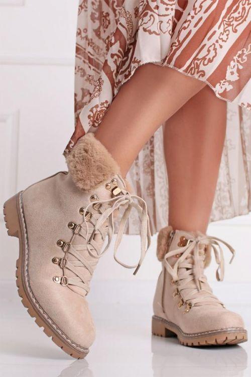 Béžové semišové kotníkové boty Lorna