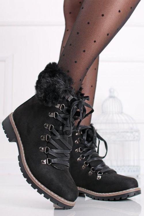 Černé semišové kotníkové boty Lorna
