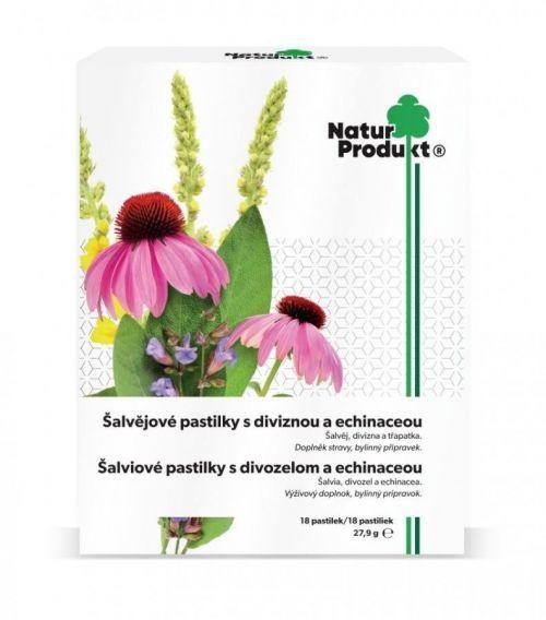 Naturprodukt Šalvějové pastilky s diviznou a echinaceou 18 pastilek