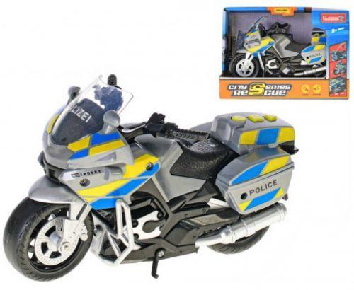 Motorka policejní 18cm na baterie Světlo Zvuk v krabici
