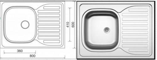 BRW Celoplošný dřez SINKS CLP-D 800 M 0.5mm matný se sifonem